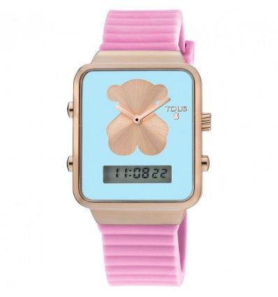 Reloj TOUS 700350150 I-BEAR IPRG DIG SQUARE ESF VERD COR ROSA MUJER
