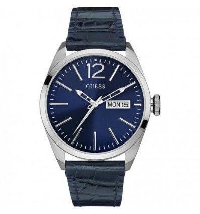 Guess W0658G1 - Reloj con correa de piel, para hombre, color azul