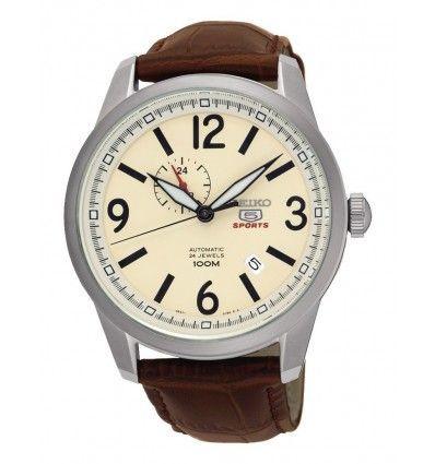 Reloj Seiko Neo Sports de hombre de acero inoxidable con correa de piel marrón. Agujas e índices luminiscentes.
