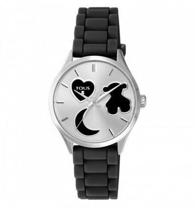 Reloj TOUS 800350740 Reloj Sweet Power de acero con correa de silicona negra