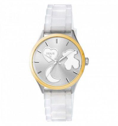 Reloj TOUS 800350750 Reloj Sweet Power de acero IP dorado con correa de silicona blanca