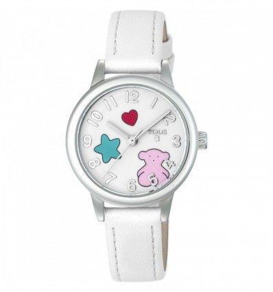 Reloj TOUS 800350625 Reloj Muffin de acero con correa de piel blanca