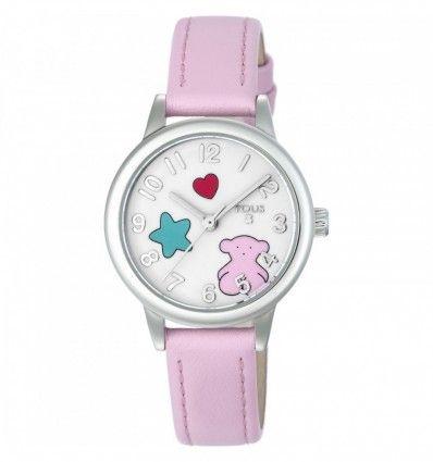 Reloj TOUS 800350630 Reloj Muffin de acero con correa de piel rosa