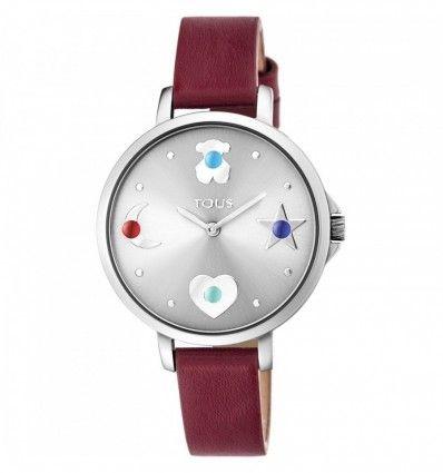 Reloj TOUS 800350730 Reloj Super Power de acero con correa de piel roja