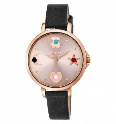 Reloj TOUS 800350735 Reloj Super Power de acero IP rosado con correa de piel negra