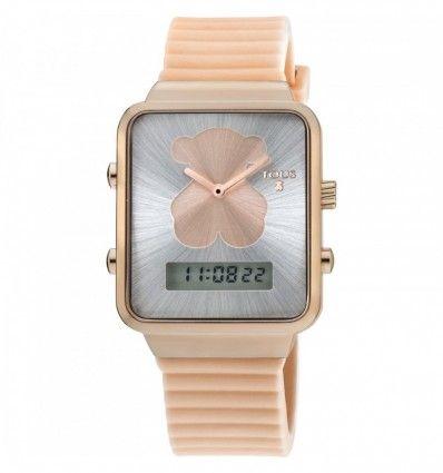 Reloj TOUS 700350140 Reloj digital I-Bear de acero IP rosado con correa de silicona nude
