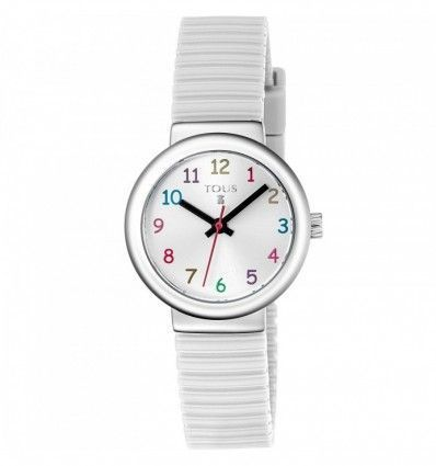 Reloj TOUS 800350580 Reloj Rainbow de acero con correa de silicona blanca