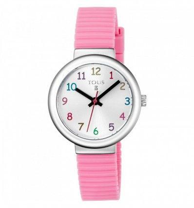 Reloj TOUS 800350585 Reloj Rainbow de acero con correa de silicona rosa