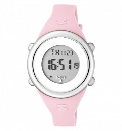 Reloj TOUS 800350610 Reloj Soft Digital de acero con correa de silicona rosa