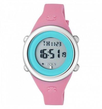 Reloj TOUS 800350615 Reloj Soft Digital de acero con correa de silicona fúcsia