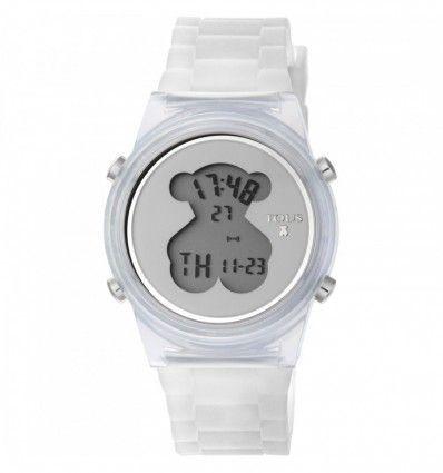 Reloj TOUS 800350690 Reloj D-Bear Fresh de policarbonato con correa de silicona blanca