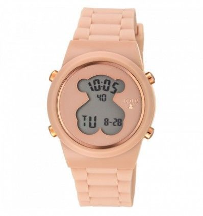 Reloj TOUS 700350315 Reloj digital D-Bear de acero IP rosado con correa de Silicona nude
