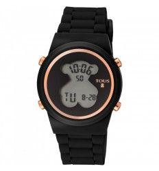 Reloj TOUS 700350320 Reloj digital D-Bear de acero IP rosado con correa de Silicona negra