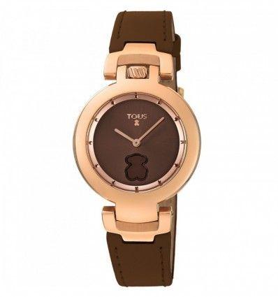 Reloj TOUS 700350270 Reloj Crown de acero IP rosado con correa de piel marrón