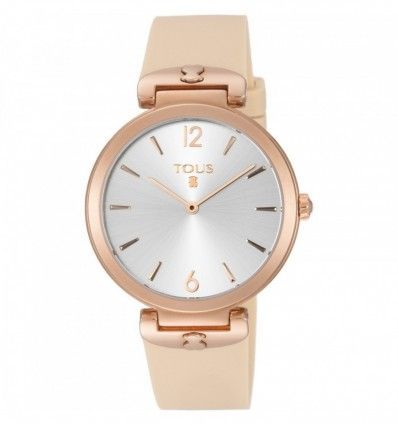 Reloj TOUS S-Mesh de acero IP rosado con correa de silicona nude