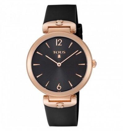 Reloj TOUS S-Mesh de acero IP rosado con correa de silicona negra