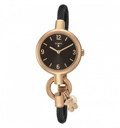 Reloj TOUS Hold Charms de acero IP rosado con correa de acero IP negra