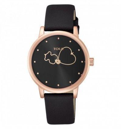 Reloj TOUS 800350920 Bear Time de acero IP rosado con correa de piel negra
