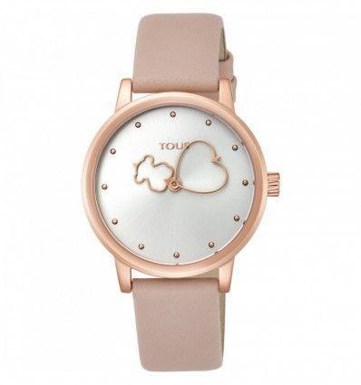 Reloj TOUS 800350925 Bear Time de acero IP rosado con correa de piel nude