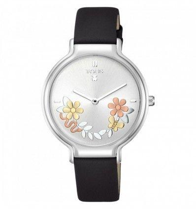 Reloj TOUS Real Mix de acero con correa de piel negra