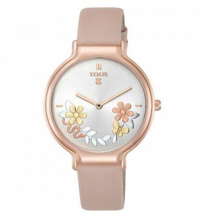 Reloj TOUS Real Mix de acero IP rosado con correa de piel nude