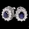 Pendientes de Orla en oro blanco con diamantes talla brillante y centro color. Cierre omega
