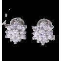 Pendientes modelo rosetón en doble altura en oro blanco de 18 quilates y diamantes blancos talla brillante