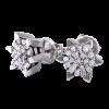 Pendientes en oro blanco con diamantes talla brillante cuajado en estrella. Cierre presión