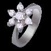 Anillo en oro blanco modelo rosetón en forma de estrella con diamantes talla brillante