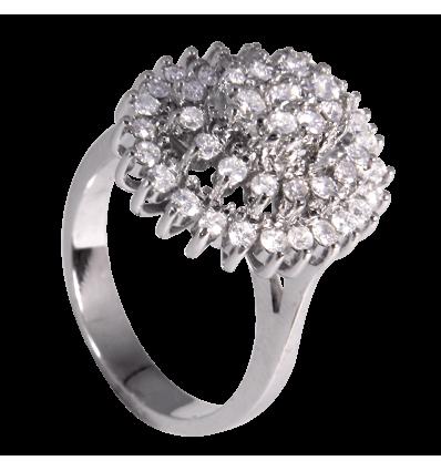 Anillo triple orla en oro blanco con diamantes blancos talla brillante