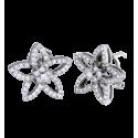 ,Pendientes modelo flor rosetón central en oro blanco,,,, con diamantes blancos talla brillante. Cierre omega,,,
