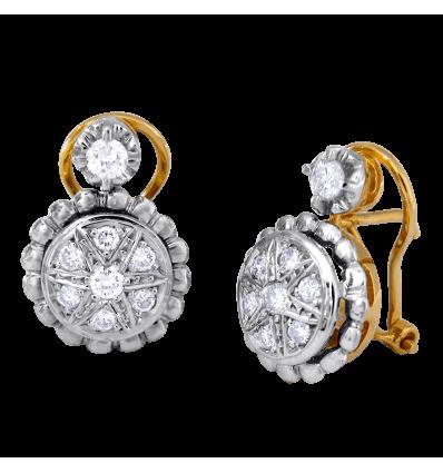 ,Pendientes en oro bicolor con diamantes talla brillante,,,, engaste en pavé. Cierre omega,,,