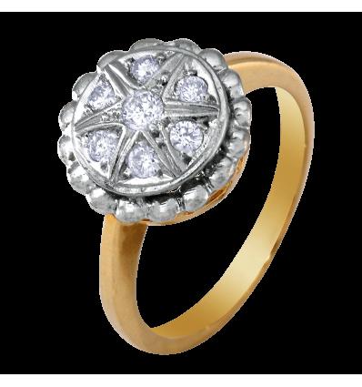 Anillo en oro bicolor con diamantes talla brillante engaste en pavé