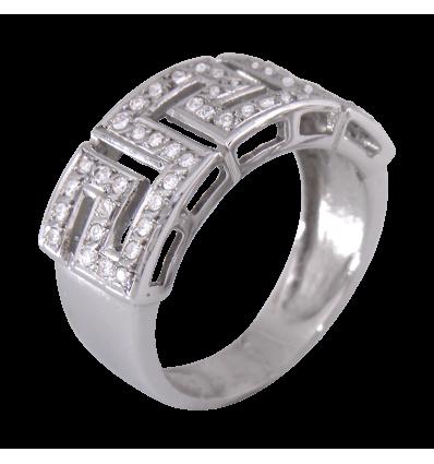 Anillo en oro blanco con diamantes talla brillante engaste en grano