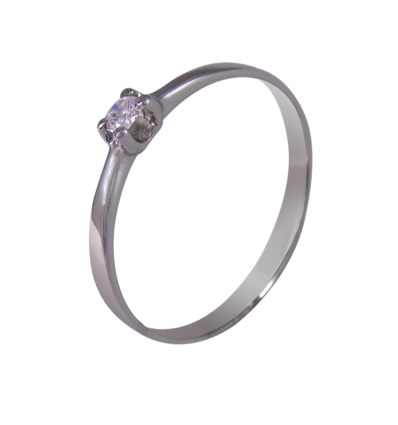 Solitario en oro blanco con diamante central talla brillante