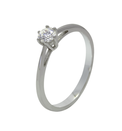 Solitario en oro blanco con diamante central talla brillante, brazo cuchilla
