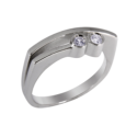 Anillo de compromiso con dos diamantes talla brillante