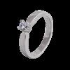 Solitario en oro blanco con diamante central talla brillante, brazo en flecha