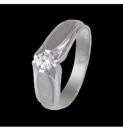 Solitario caballero en oro blanco mate y brillo con diamante central talla brillante