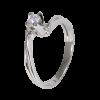 Solitario en oro blanco con diamante central talla brillante, brazo girado