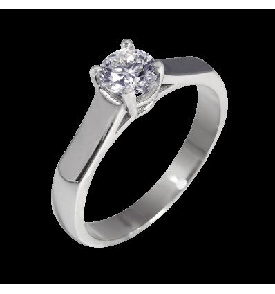 Solitario en oro blanco con diamante central talla brillante, brazo media caña