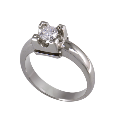 Solitario en oro blanco con diamante central talla brillante, brazo ancho en media caña
