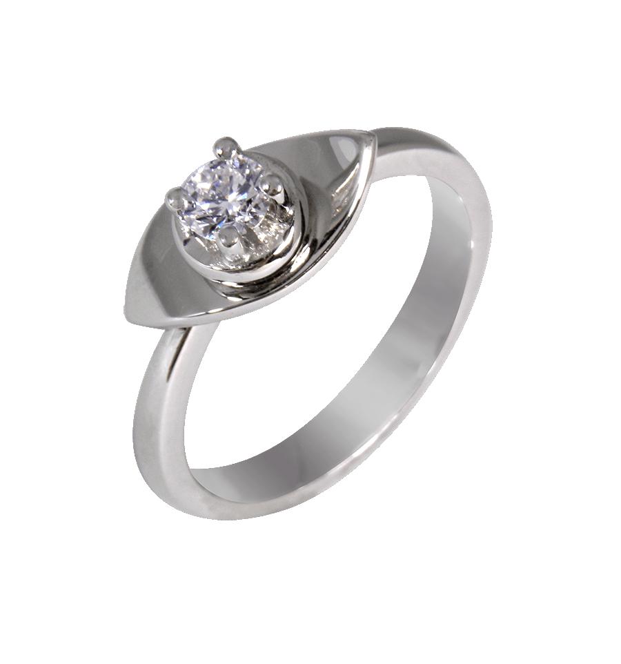 02b0f7ba2c6d Solitario de diseño en oro blanco con diamante talla brillante ...