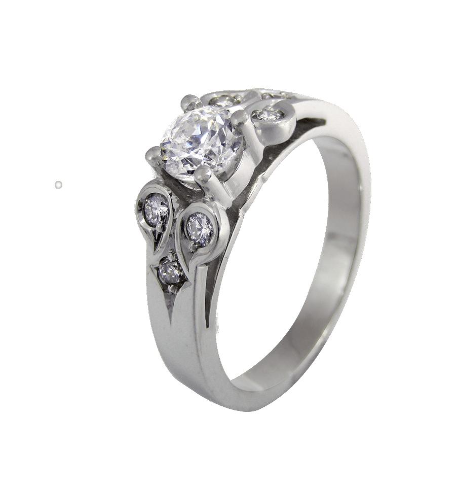 a8ea70cacfc5 Solitario de diseño en oro blanco con diamantes talla brillante ...