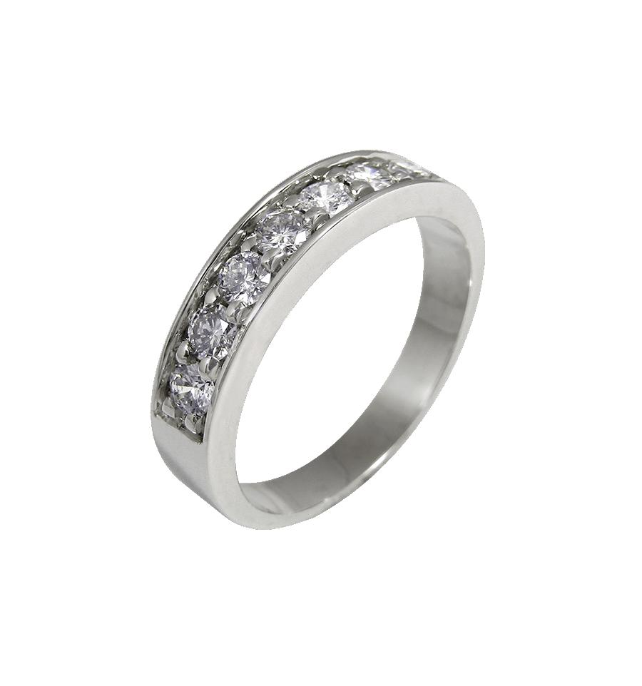 e1e8c20d79fd Alianza media en oro blanco con diamantes blancos talla brillante ...
