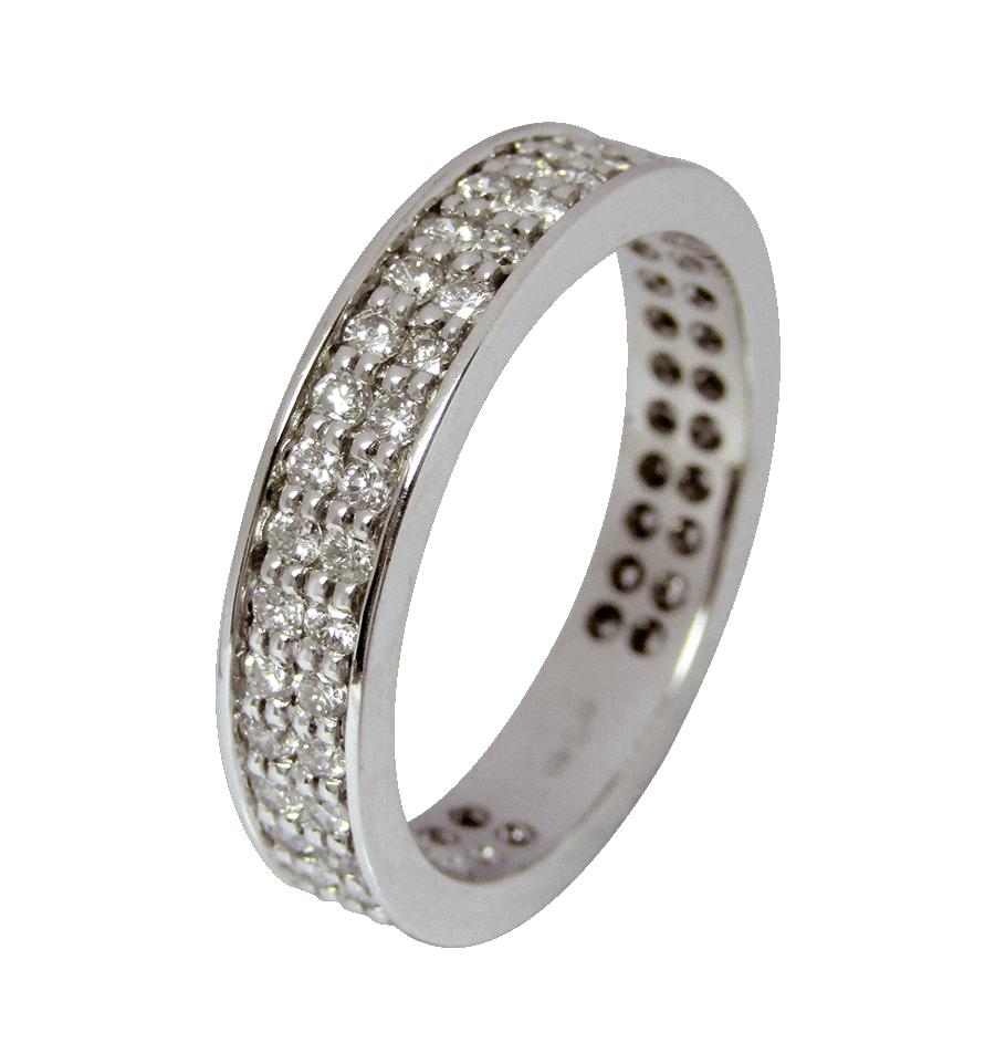 ef68a90ff39f Alianza completa doble en oro blanco con diamantes blancos talla brillante