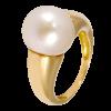 Anillo en oro amarillo con perla Australiana esférica, brazo bombé