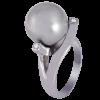 Anillo en oro blanco con diamantes blancos talla brillante y perla Tahitiana esférica