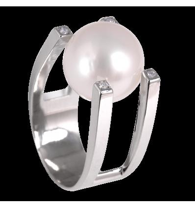 Anillo de la Colección Nunet en oro blanco con diamantes blancos talla brillante y perla Australiana al aire