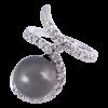 Anillo en oro blanco con diamantes blancos talla brillante brodeando la perla Tahití barroca